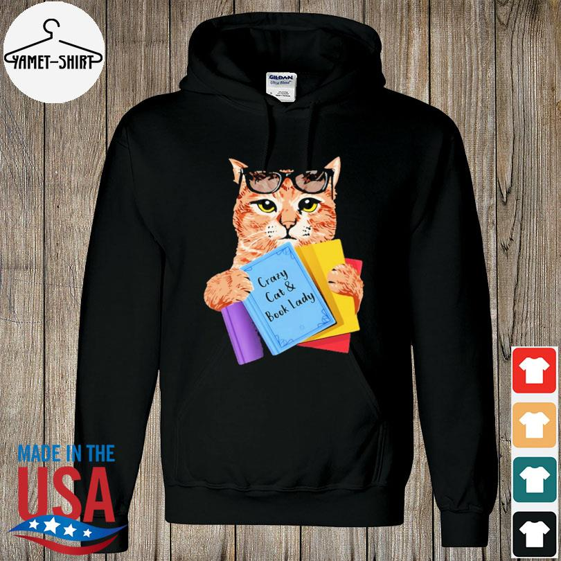 Official Crazy cat and book lady s hoodie