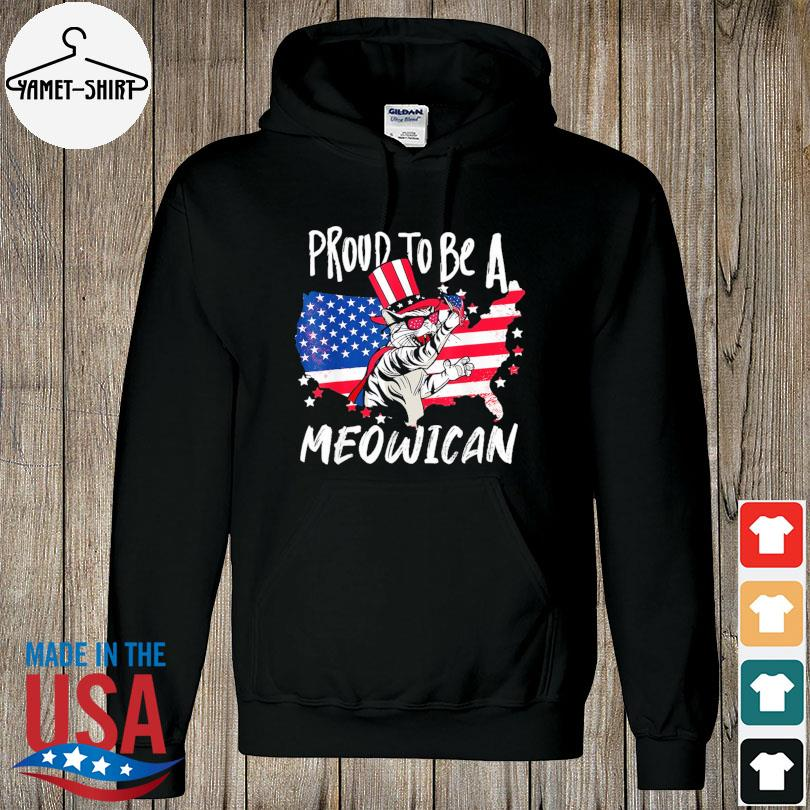 Official Proud to be as Meowican Cat 4th Of July American flag s hoodie