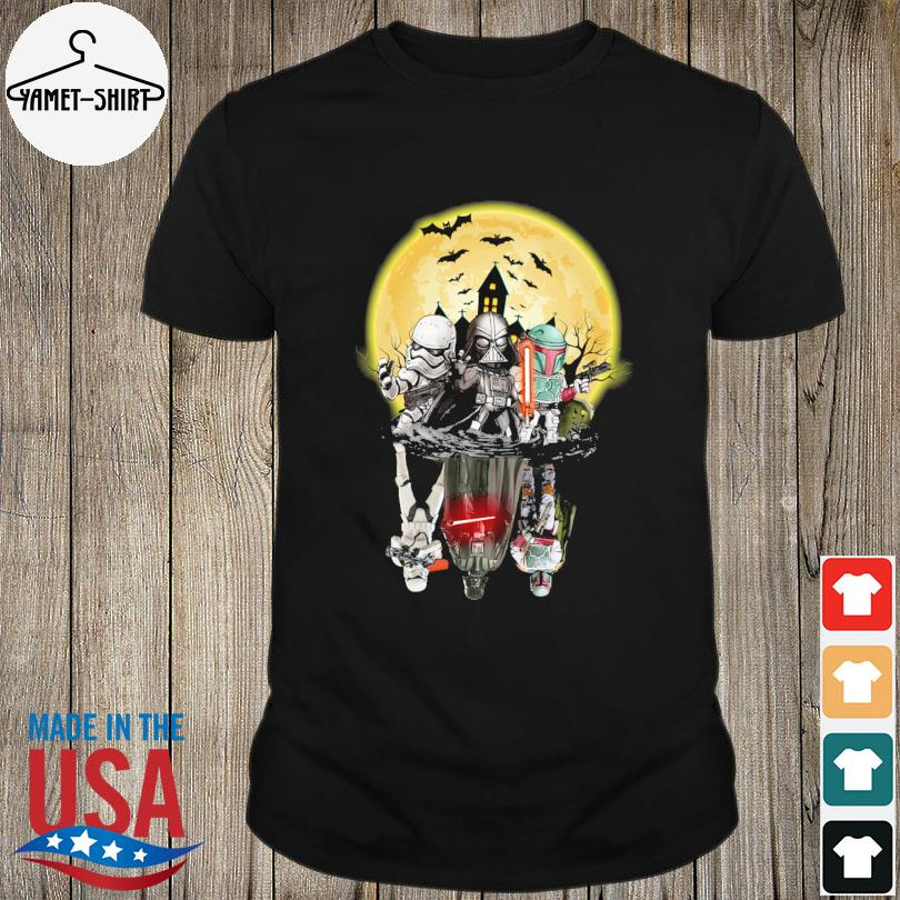 The Mandalorian Darth Vader and Stormtroopers water reflection Halloween Moon shirt